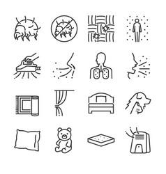 dust mites line icon set vector image vector image