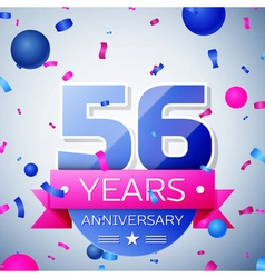 Fifty six years anniversary celebration on grey vector