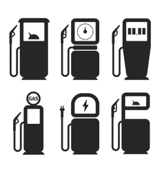 Gas and fuel pump icons set vector