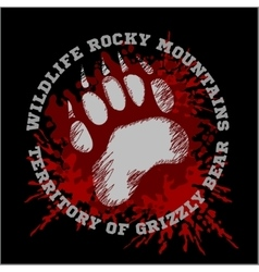 Grizzly Bear footprint emblem - vector image vector image