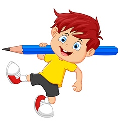 Little boy holding pencil vector