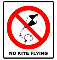 no kite flying sign warning vector image vector image