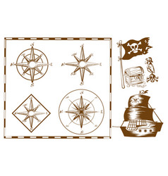 pirate ship and other symbols vector image vector image