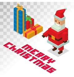 Santa claus gift box sometric 3d icons vector