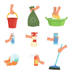 Set of human hands and cleaning supplies bucket vector