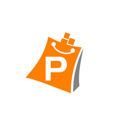 shopping online initial p vector image