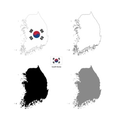 South Korea country black silhouette and with flag vector image