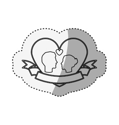 sticker silhouette profile face engagement inside vector image vector image