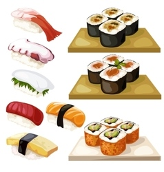Sushi and rolls traditional Japanese food vector image vector image