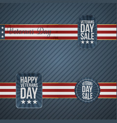 Veterans day realistic banners with ribbons vector