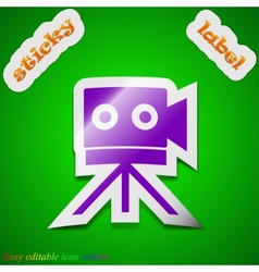 Video camera icon sign Symbol chic colored sticky vector image