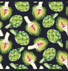 Watercolor artichoke pattern vector
