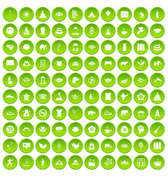 100 world tour icons set green circle vector