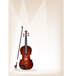 A beautiful violin on brown stage background vector