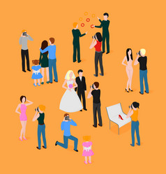 flat isometric set of photographers wedding vector image