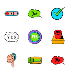 Button yes icons set cartoon style vector