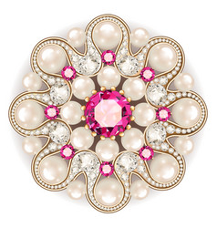 mandala brooch jewelry design element pearl vector image