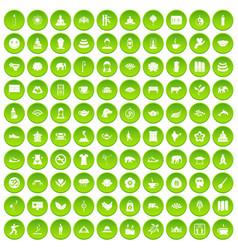 100 world tour icons set green circle vector