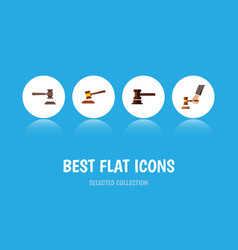 Flat icon court set of hammer crime government vector
