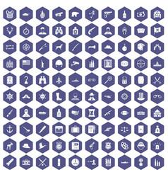 100 bullet icons hexagon purple vector