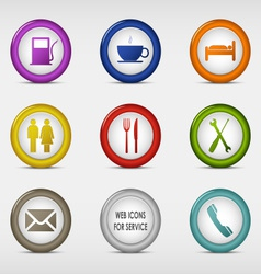 Set of colored round web icons for service vector