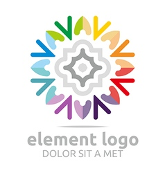 Logo colorful elements lines design abstract vector