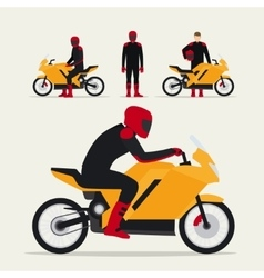 Biker with motorcycle vector