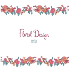 Floral border with flowers berries and butterfly vector
