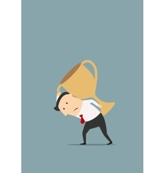 Businessman carrying big golden trophy cup vector