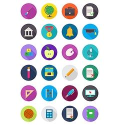 Color round school icons set vector
