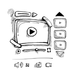 Doodle video player vector