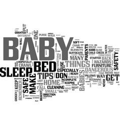 Baby safety tips text word cloud concept vector