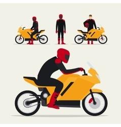 Biker with motorcycle vector