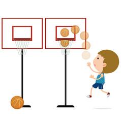 Boy shooting basketball in the net vector
