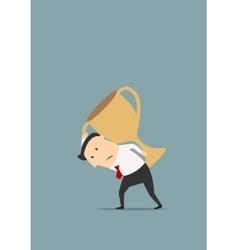 Businessman carrying big golden trophy cup vector image vector image