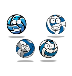 Cartooned blue and white volleyball balls vector image vector image
