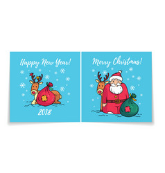 christmas card with santa happy new year 2018 vector image