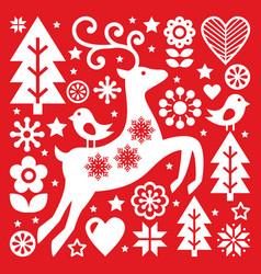 christmas white scandinavian folk art on red rein vector image