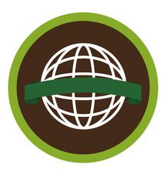 Circular emblem with world eco sketch vector