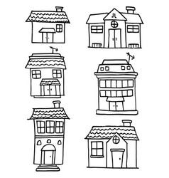 collection of house and building hand draw vector image