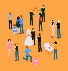 flat isometric set of photographers wedding vector image vector image