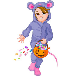 halloween mouse child vector image vector image