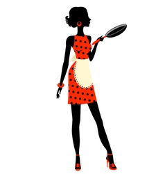 Housewife with pan vector image vector image