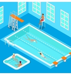 Indoors swimming pool with swimmers and jacuzzi vector