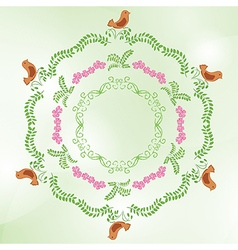 light green background with floral ornaments vector image vector image