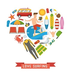 Love surfing heart concept vector
