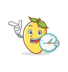 Mango character cartoon mascot with clock vector