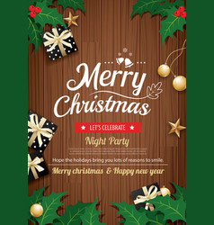 merry christmas party and gift box on wooden vector image vector image