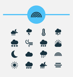 Nature icons set collection of sun sun-cloud vector