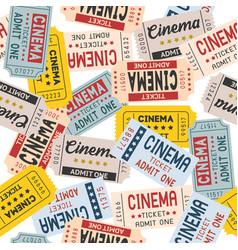 Pattern cinema ticket retro style vector
